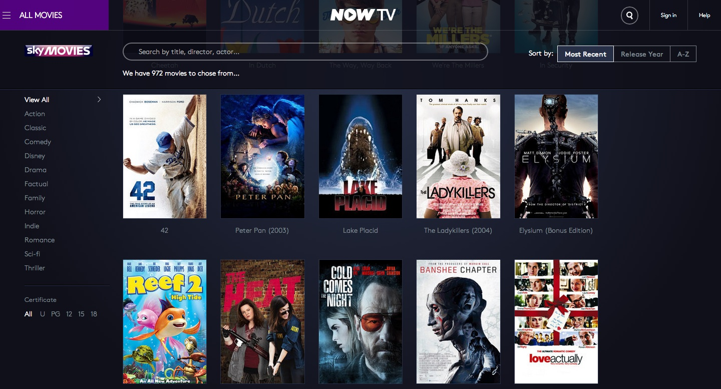 NOW TV Movies Explorer